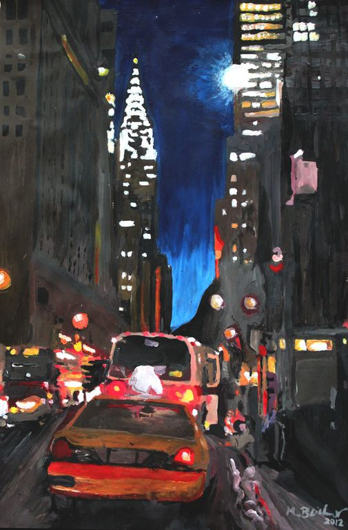 "Saatchi Online Artist: M Bleichner; Acrylic, 2012, Painting ""New York - Chrysler Building Street Scene"""