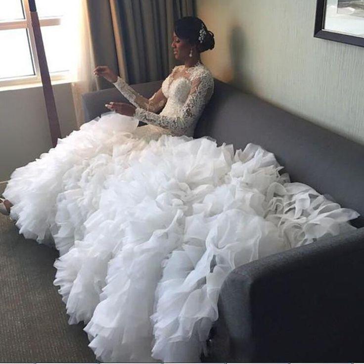 Dw Muslim Garden Long Sleeves Mermaid Wedding Dresses Lace Organza Ruffles Chapel Train Plus Size Luxury Bridal Gowns 2016 Wedding Gowns Designer Gown Different Wedding Dresses From Dreamweddingdresses, $180.46| Dhgate.Com