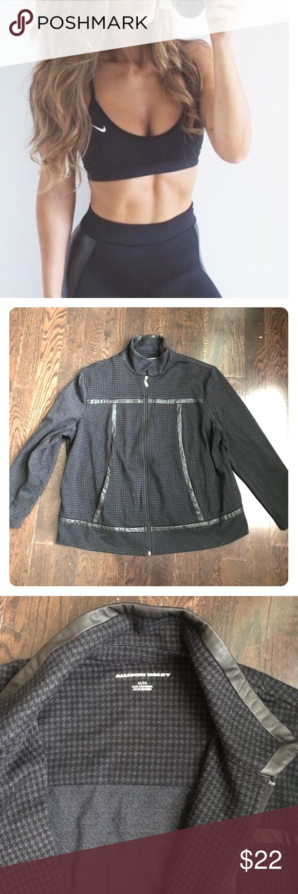 FAB FAUX LEATHER ATHLETIC ZIP UP ALLISON DALEY ATHLETIC WEAR/sz xl / silver zipper & hardware with black houndstooth print /faux leather trim/Nordstrom bought💕great condition Nordstrom Tops