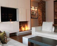 Ecosmart fireplace and mounted TV