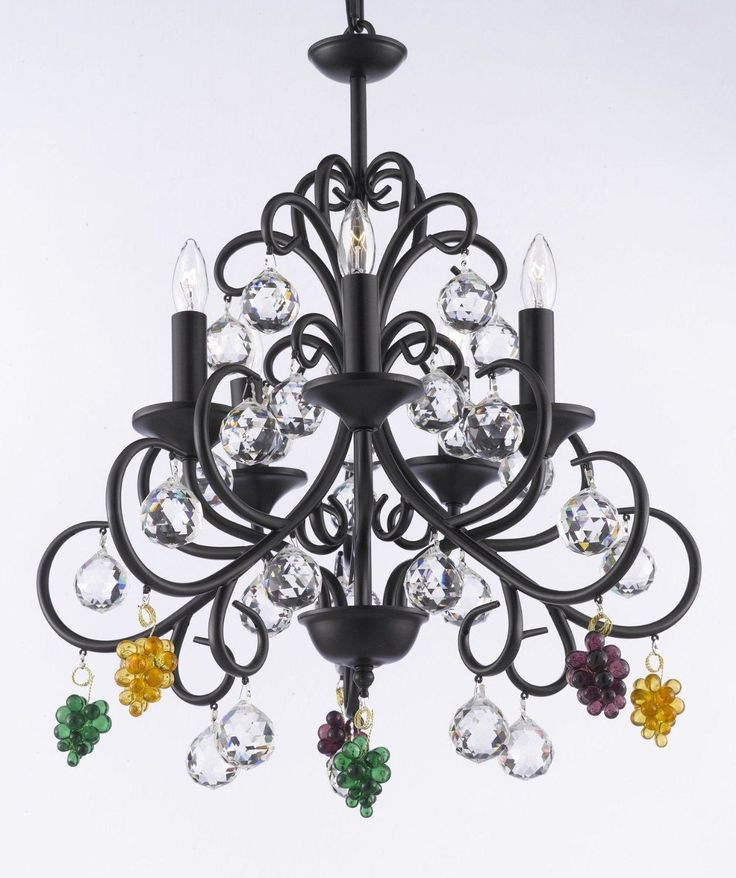 Bellora Empress Crystal Wrought Iron Chandelier Lighting With Faceted Crystal Balls, Black