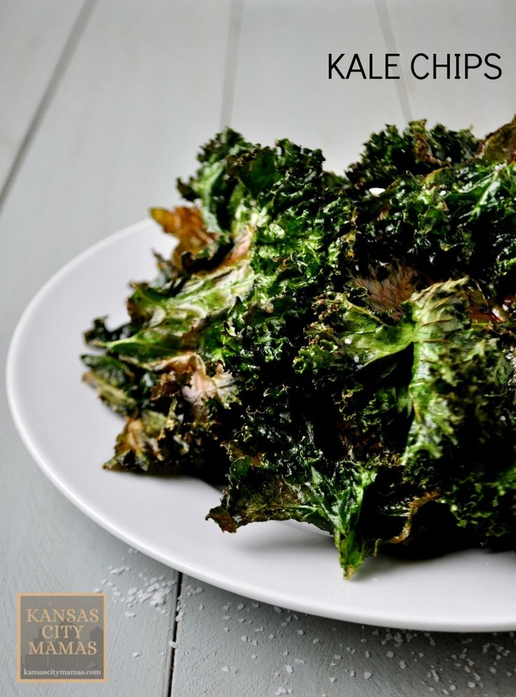Super Easy (and no fail) Kale Chips Recipe via Kansas City Mamas.com I think i would add other flavors maybe garlic or cinnamon depending i'll try anything once..