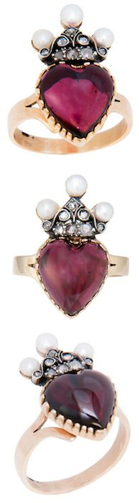 Victorian Heart Shape Garnet Ring, Lovely Victorian 14K yellow Gold Ring set with a Heart Shape Cabachon Garnet and Further set with Rose Cut Diamonds and Pearls. Circa 1890.