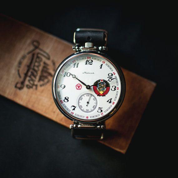 Watches for men Molnija, white vintage watch soviet, mens watch vintage, gents watch, mechanical watch, montre homme