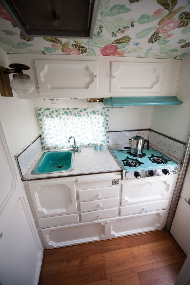 RV Kitchen Makeover - RV Painted Cabinets - Vintage Trailer RV Kitchen