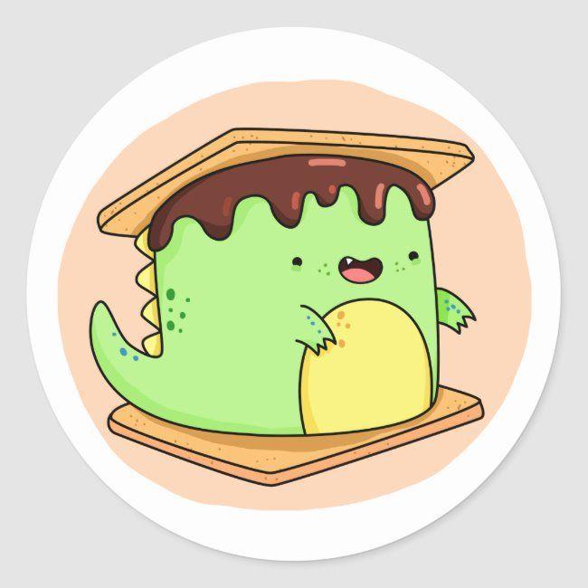 Cute Kawaii Dino Smore Classic Round Sticker Zazzle Com Cute