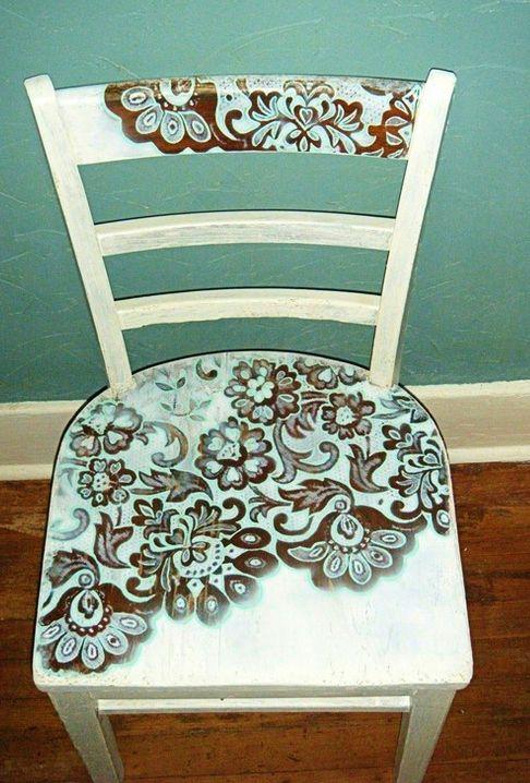 Stencilled chair.