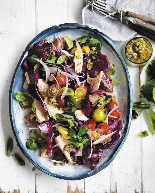 "Neil Perry's tuna and herb salad with a zesty lemon dressing <a href=""http://www.goodfood.com.au/good-food/cook/recipe/tuna-with-herb-salad-capers-and-lemon-dressing-20130812-2rqwc.html?rand=1386293523446""><b>(RECIPE HERE).</b></a>"