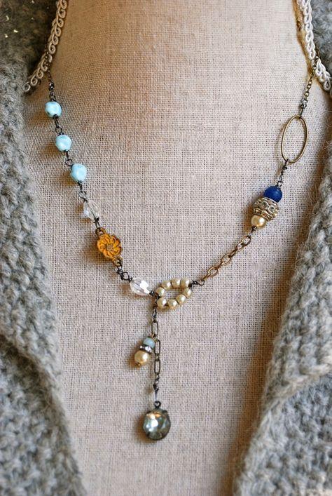Elise. romantic,rhinestone pearl beaded,blue sapphire drop necklace. Tiedupmemories