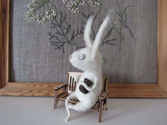 Cute little Rabbit. White Easter Bunny. The toy is made of