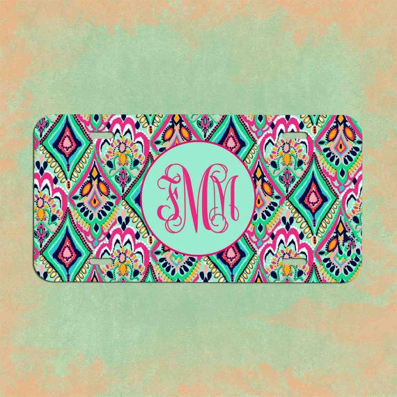Monogrammed License plate Lilly Pulitzer by fmmmonograms on Etsy