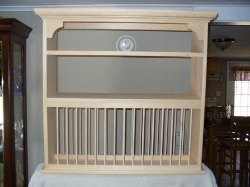 Organizer Crown Moulding Wood Cup Plate Dish Rack Art Shelf Cabinet Kitchen | eBay