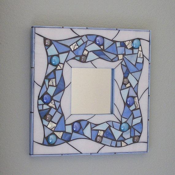 Beachy Blue Glass Mosaic Mirror