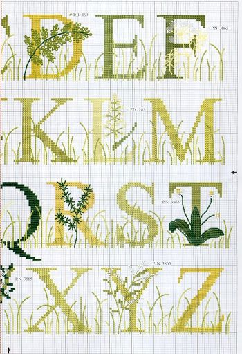 Monograma Bordado Alfabeto Grass cross stitch