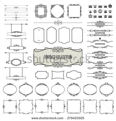 Vintage frames, dividers, signboards mega set isolated on white. Calligraphic design elements.