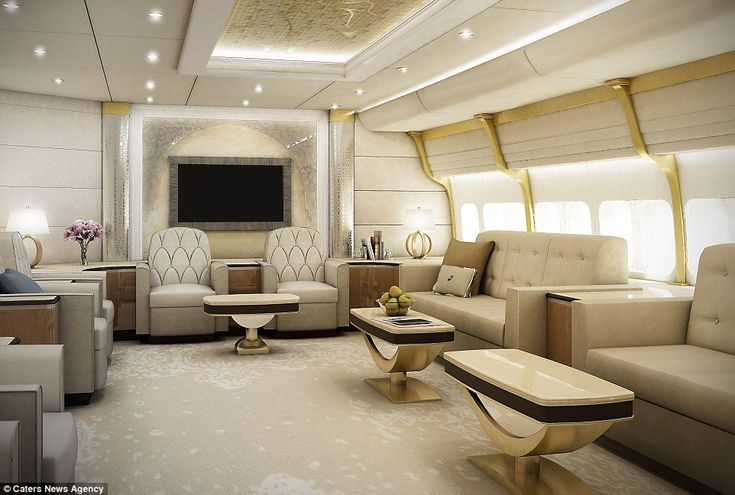 Luxury: This is the lounge on board a custom-built Boeing 747-8, as depicted in an artist's impression by Greenpoint Technologies