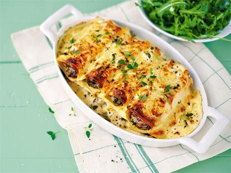 Vegetarisk Cannelloni med svamp och spenat