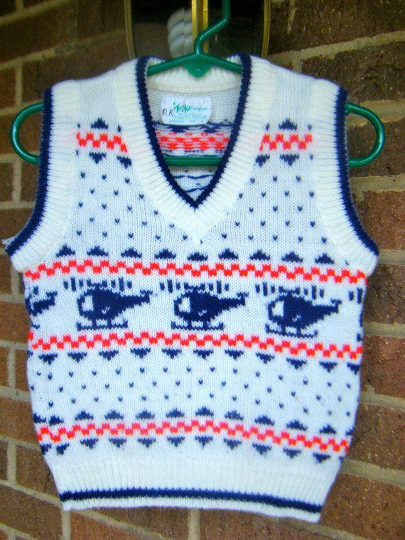 Vintage Boys Hipster Helicopter Retro Sweater Vest