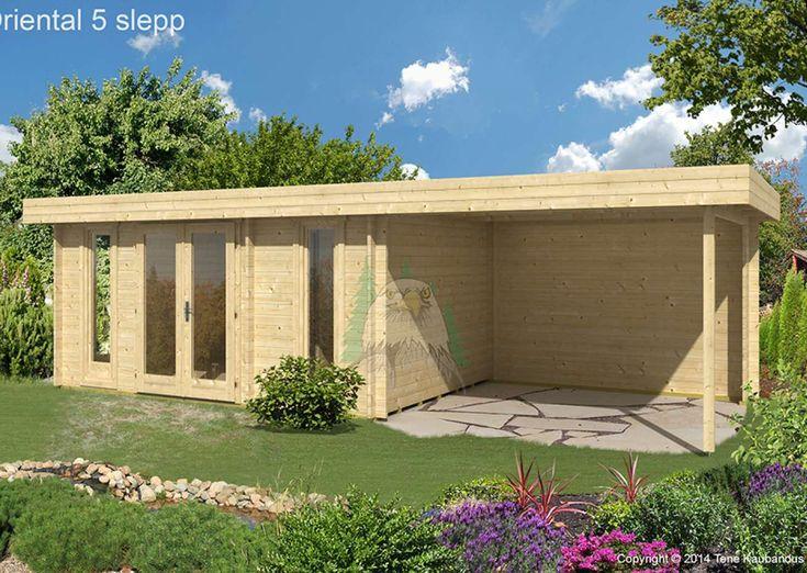 Flachdach Gartenhaus Modell Oriental-5 mit Seitendach