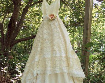 Cream wedding dress lace  crochet champagne tulle fairytale