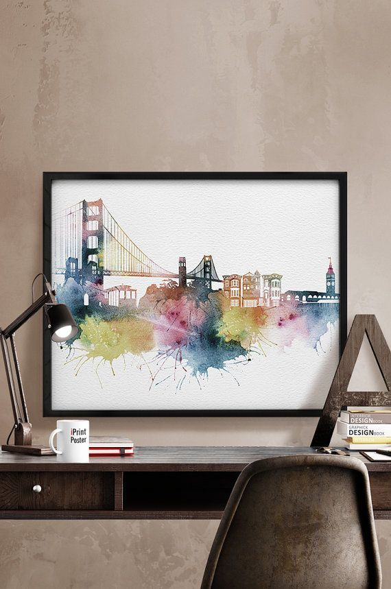 San Francisco print, San Francisco skyline, California, City print, travel poster, Home Decor, home gallery, wall art art print iPrintPoster