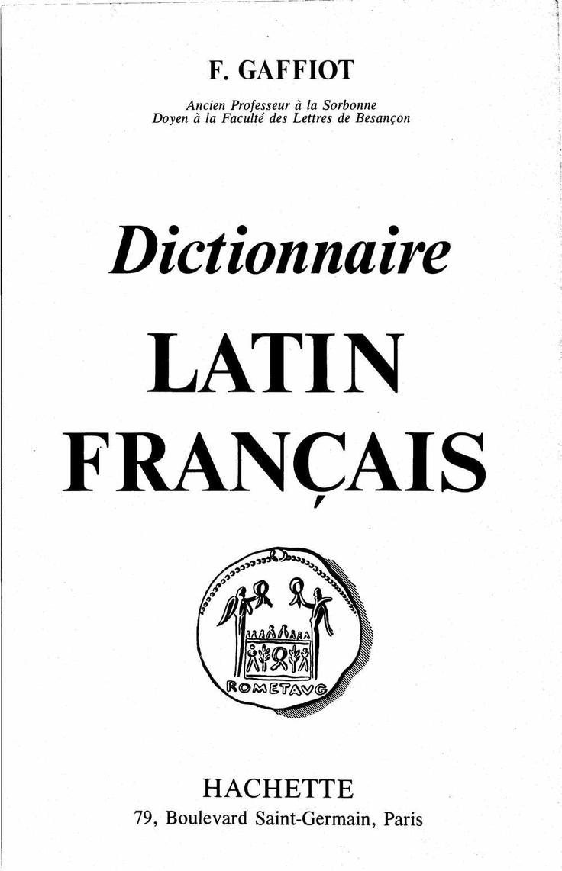Latin - Français Dictionnaire