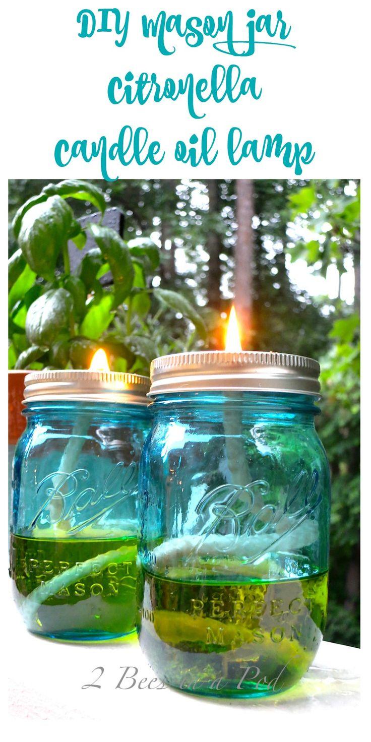 DIY Mason jar citronella candle oil lamp