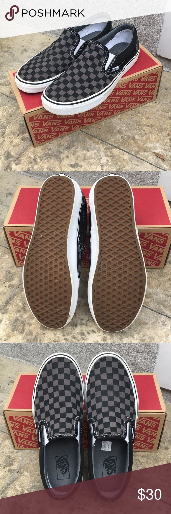 Excellent condition! Men's Vans check slip-ons Excellent condition! Men's Vans check slip-ons. Black & pewter checkered canvas upper with seamless toe. Comes from a smoke free home. Vans Shoes Sneakers #sneakersvans