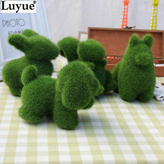 4 stks/partij kunstgras Turf kleine leuke dieren toy decoraties, dier gras land, Verminderen de vermoeidheid chrismas decor