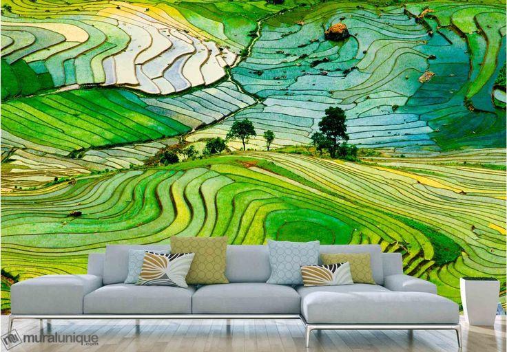 Rizières dans la Province de Lào Cai, Vietnam  | Achetez en Ligne des Murales en Papier Peint Décoratives- Muralunique.com