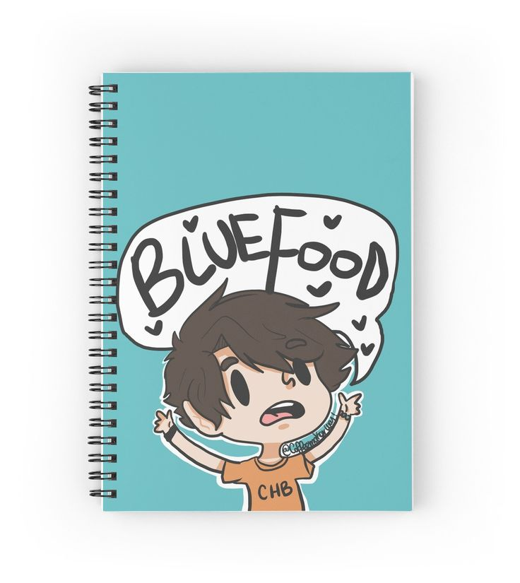 Percy Jackson blue food spiral notebook.  http://www.redbubble.com/people/coffeemakerway/works/16028365-blue-food?p=spiral-notebook