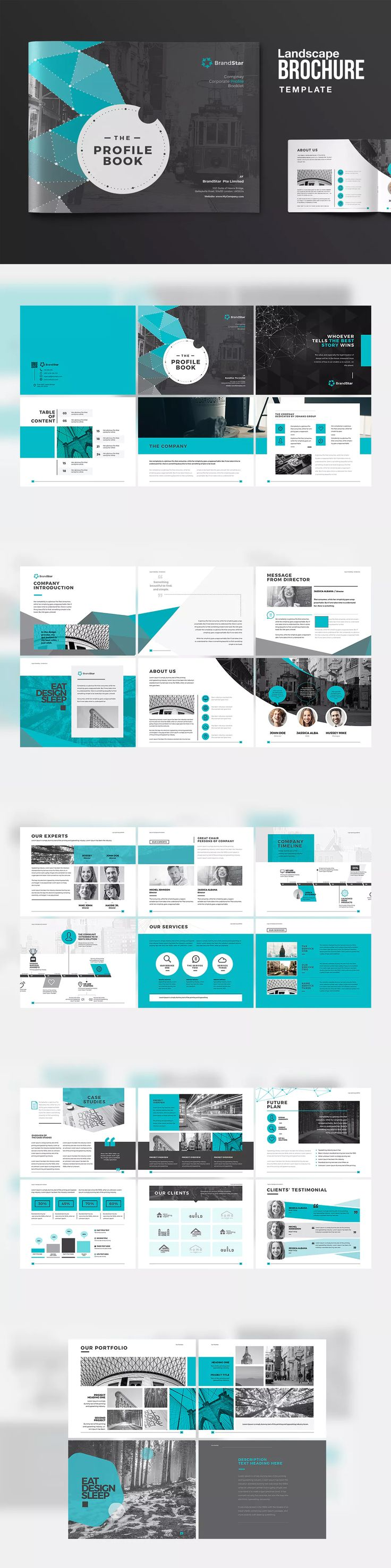 Landscape Company Profile Template InDesign INDD - A4 and US Letter Size