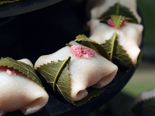 Japanese sweets -sakuramochi- served especially in cherry blossom season :-)