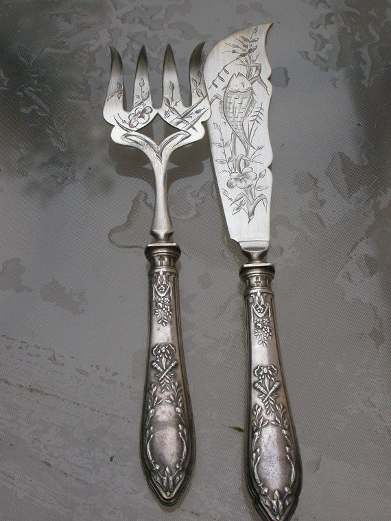 French Antique Large Sterling Silver Gold Fork Carving
