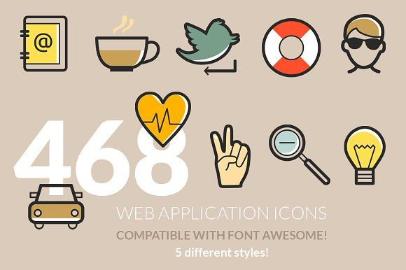 486 Web Application Icons by land art on @creativemarket
