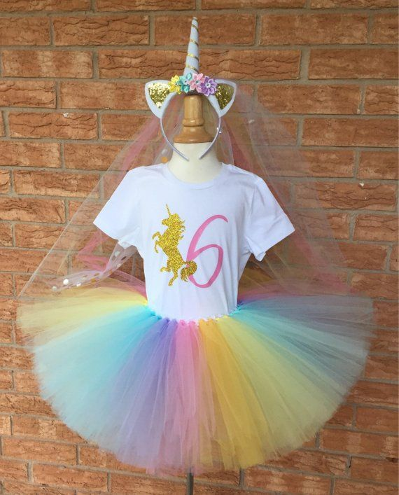 0b3c7600c Girl's unicorn birthday outfit, 6th Birthday tutu, rainbow unicorn, Birthday,  6 years old shirt, gir