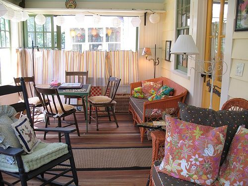 must do for our back porch love the cafe curtains and