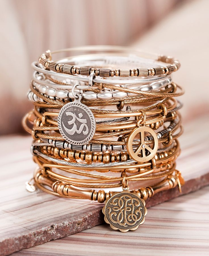 Alex And Ani. Each charm has a special meaning and they are all made of recycled metal.