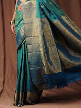 Aqua Blue Zari Kanjivaram Silk Saree