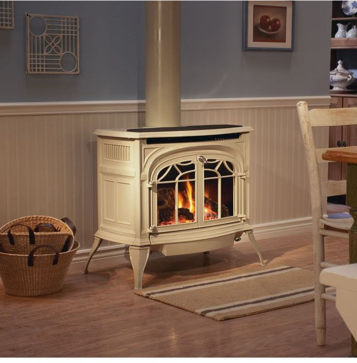 Wood stove surround and Small gas fireplace