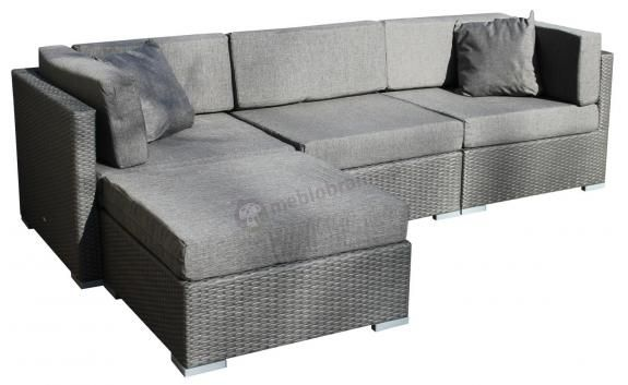 Narożnik modułowy z szarego technorattanu z szarymi poduszkami - więcej takich propozycji tutaj: http://www.meblobranie.pl/meble-technorattan#32