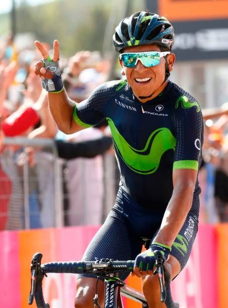 Colombia's Nairo Quintana of team Movistar celebrates as he crosses the finish line to win the 9th stage of the 100th Giro d'Italia Tour of Italy...