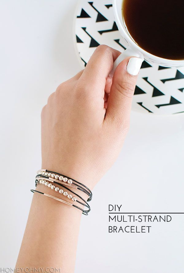 How to make a simple multi-strand bracelet. Black leather cord and rose gold beads.