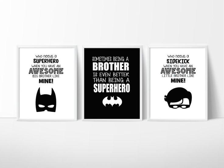 Batman Nursery Room Wall Decor, Print your own decor Brothers, Superhero