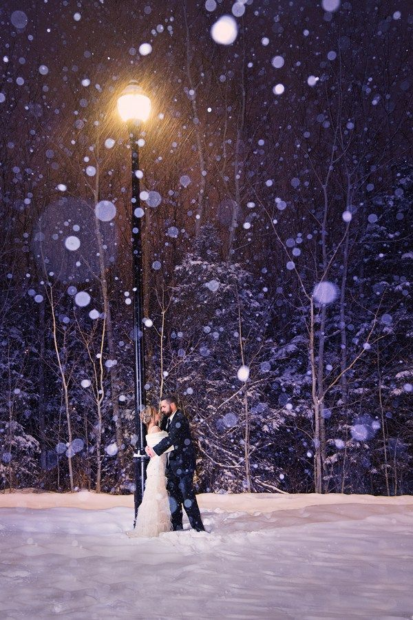 perfect snowy Bride and Groom