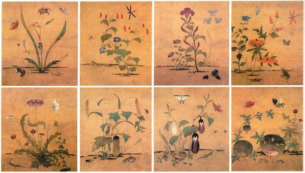 (Korea) 초충도 Folder Screens by Shin Saimdang. 34.0×28.3cm. National Museum of Korea.