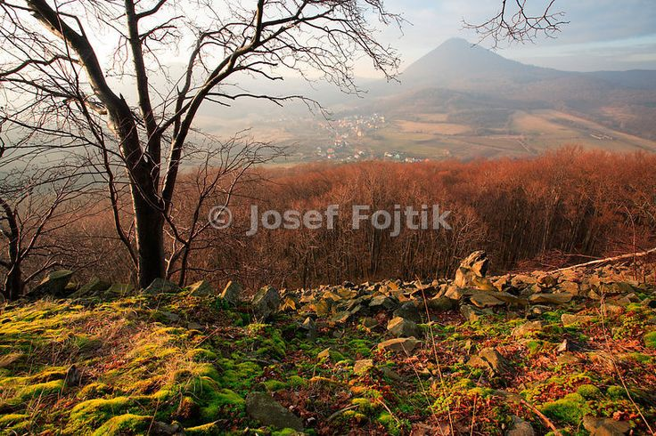View of the Milesovka Mountain from the Ostry Hill, Ceske stredohori Mountains, Czech Republic