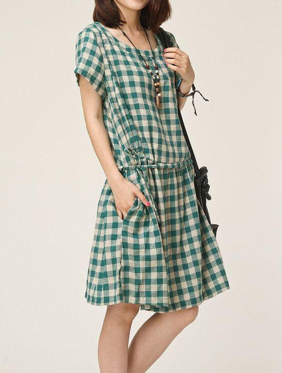 Green linen dress maxi dress cotton dress tunic dress cotton skirt linen blouse large size dress sundress summer long dress plus size dress on Etsy, $55.00