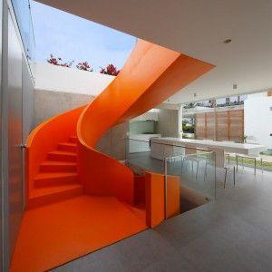 Martin+Dulanto+installs+vibrant+orange+staircase+inside+Peruvian+house+Casa+Blanca