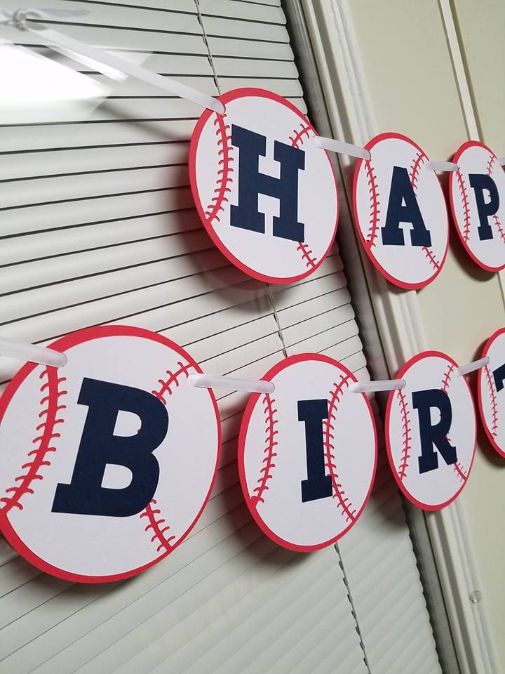 Baseball banner, baseball birthday party, baseball happy birthday banner, home run, baseball birthday by MindysPaperPiecing on Etsy